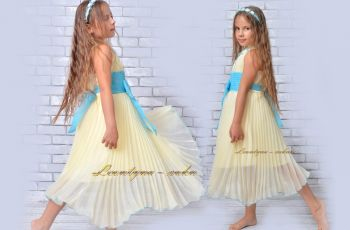 Dress for girl. ASYMMETRIC, pleated, lovely